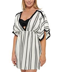 Newport Stripes Petal Sleeve Cover-Up Dress