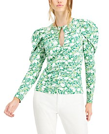 INC Printed Ruched Keyhole Top, Created for Macy's