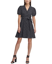 Printed Knot-Sleeve Shirtdress