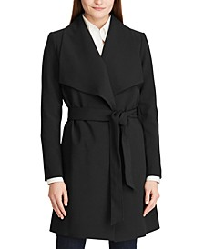 Petite Belted Crepe Coat
