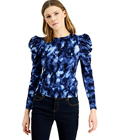 INC Printed Puff-Sleeve Sweater, Created for Macy's