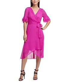 Chiffon Triple-Ruffle Wrap Dress