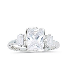 Cubic Zirconia Radiant and Baguette Cut Ring
