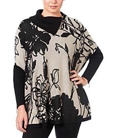 Women's Printed Poncho Sweater