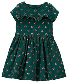 Toddler Girls Floral Corduroy Dress