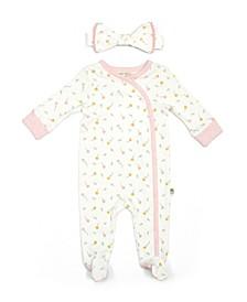 Rabbit + Bear 100% Organic Cotton Baby Girls 2pc Coverall and Headband Set