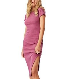 Women's Essential Split Short Sleeve Midi Dress