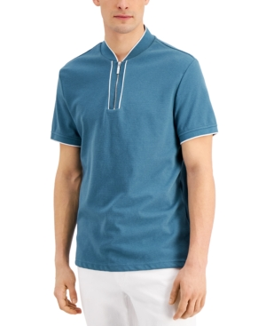 Men's Regular-Fit Ottoman Stripe Baseball-Collar Polo Shirt