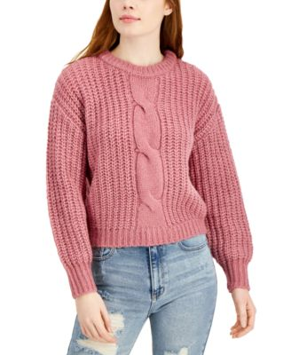 Juniors' Cable-Knit Balloon-Sleeve Sweater