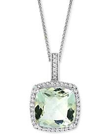 """Green Quartz (3-1/2 ct. t.w.) & Diamond (1/6 ct. t.w.) Halo 18"""" Pendant Necklace in 14k White Gold"""