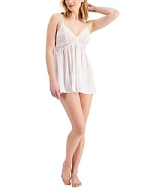 Chiffon Babydoll Nightgown & Thong 2pc Lingerie Set, Created for Macy's