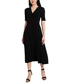 Faux-Wrap Jersey Midi Dress