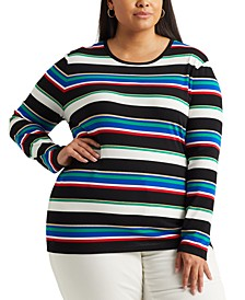 Plus Size Metallic-Stripe Top