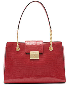 DKNY Lilian Croc Embossed Leather Tote