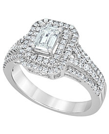 Diamond Emerald-Cut Halo Engagement Ring (1 ct. t.w.) in 14K White Gold