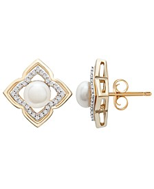 Cultured Freshwater Pearl (5mm) and Diamond (1/6 ct. t.w.) Clover Earrings in 14k Yellow Gold
