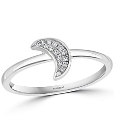 EFFY® Diamond Crescent Moon Ring (1/20 ct. t.w.) in Sterling Silver