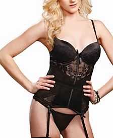 Women's Bustier Set Fashioned In Lace with Removable Garter Set