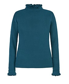 Women's Ruffle Edge Mock Neck Pullover
