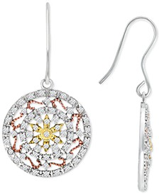 Cubic Zirconia Tri-Tone Openwork Disc Drop Earrings in Sterling Silver, Gold-Plate & Rose Gold-Plate, Created for Macy's