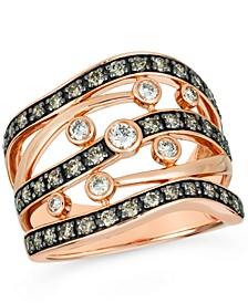 Nude Diamond (1/4 ct. t.w.) & Chocolate Diamond (3/4 ct. t.w.) Multirow Statement Ring in 14k Rose Gold