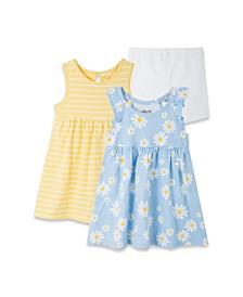 Baby Girls Daisy Knit Dress and Short Set, 3 Piece