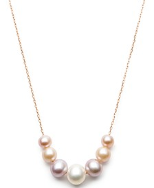 Multi-Cultured Freshwater Pearl Frontal Necklace (6-8-1/2mm) in 14k Rose Gold