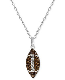 """Crystal Football 18"""" Pendant Necklace in Sterling Silver, Created for Macy's"""