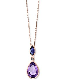 "EFFY® Multi-Gemstone (4 ct. t.w.) & Diamond Accent 18"" Pendant Necklace in 14k Rose Gold"