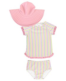 Baby Girls Ruffled Rash Guard Bikini Swim Hat Set