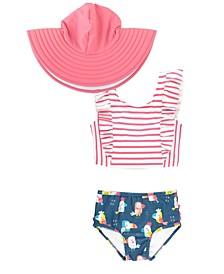 Baby Girls Striped Tankini Swim Hat Set
