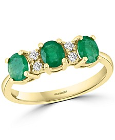 EFFY® Emerald (1 ct. t.w.) & Diamond (1/10 ct. t.w.) Three Stone Ring in 14k Gold