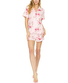 Notched Top & Shorts Pajama Set