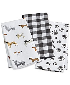 Dog Kitchen Towels, Set of 3, Created for Macy's