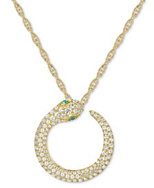 "Diamond (1/2 ct. t.w.) & Emerald Accent Snake 18"" Pendant Necklace in 14k Gold"