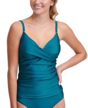Calvin Klein One-pieces RUCHED TUMMY-CONTROL TANKINI TOP WOMEN'S SWIMSUIT
