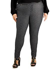 Plus Size Polka-Dot Pull-On Leggings