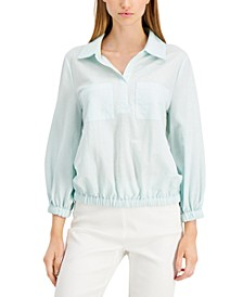 Stretchy Drawstring-Waist Collared Shirt, Created for Macy's