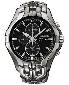 Seiko Men's Chronograph Solar Excelsior Two-Tone Stainless Steel Bracelet Watch 43mm  SSC139