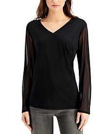 Mesh-Sleeve Wrap Top