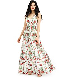 Juniors' Floral Embroidered Gown, Created for Macy's