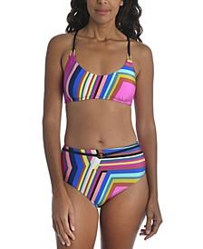 Illusions Stripe Printed Bikini Top &  High-Waist Bikini Bottoms