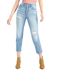 Juniors' Distressed Button-Fly Straight-Leg Jeans