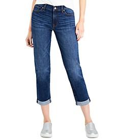 Juniors' Cuffed Girlfriend Jeans