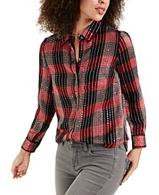 Petite Sparkle Plaid Shirt, Created for Macy's