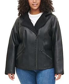 Plus Size Faux Sherpa-Lined Hooded Moto Jacket