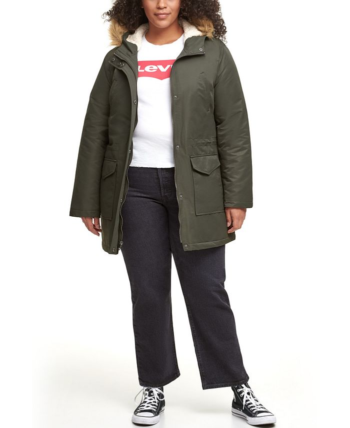 Levi's - Trendy Plus Size Faux-Fur-Trim Parka