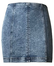 Juniors' Seamed Denim Mini Skirt