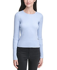 Ribbed-Knit Crewneck Sweater