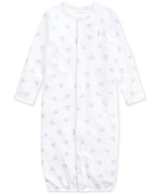폴로 랄프로렌 Polo Ralph Lauren Baby Boys Boat-Print Convertible Gown Coverall,White Multi